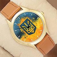 Часы с огненным Гербом, золотистый корпус, коричневый ремешок