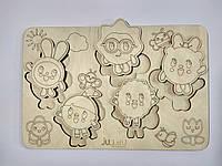 """Рамка вкладыш """"Малышарики"""", деревянный пазл сортер для детей. Карточки вкладыши из дерева для раскраски."""