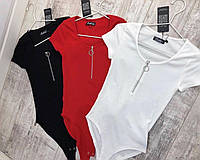 Боди женский с коротким рукавом чёрный, красный, белый, 42-44, 44-46