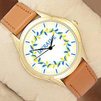 Часы Ukraine с лепестками, золотистый корпус, коричневый ремешок