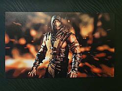 """Картина на дереве - Постер """"Mortal Kombat - Скорпион"""" 58 x 35 см"""