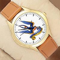 Часы Героям Слава, золотистый корпус, коричневый ремешок
