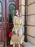 Женский летний сарафан/платье с открытыми плечами и оборками миди, фото 3