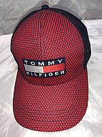 Бейсболка кепка с козырьком с нашивкой Tommy Hilfiger (Томи Халфигер) комбинированная сеточка.