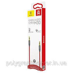 AUX кабель Baseus M30, TRS 3.5 мм, 100 см, красный, в нейлоновому оплетена