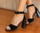 Босоніжки жіночі чорні замш, фото 5
