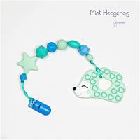 Силиконовый грызунок с держателем BABY MILK TEETH Mint Hedgehog