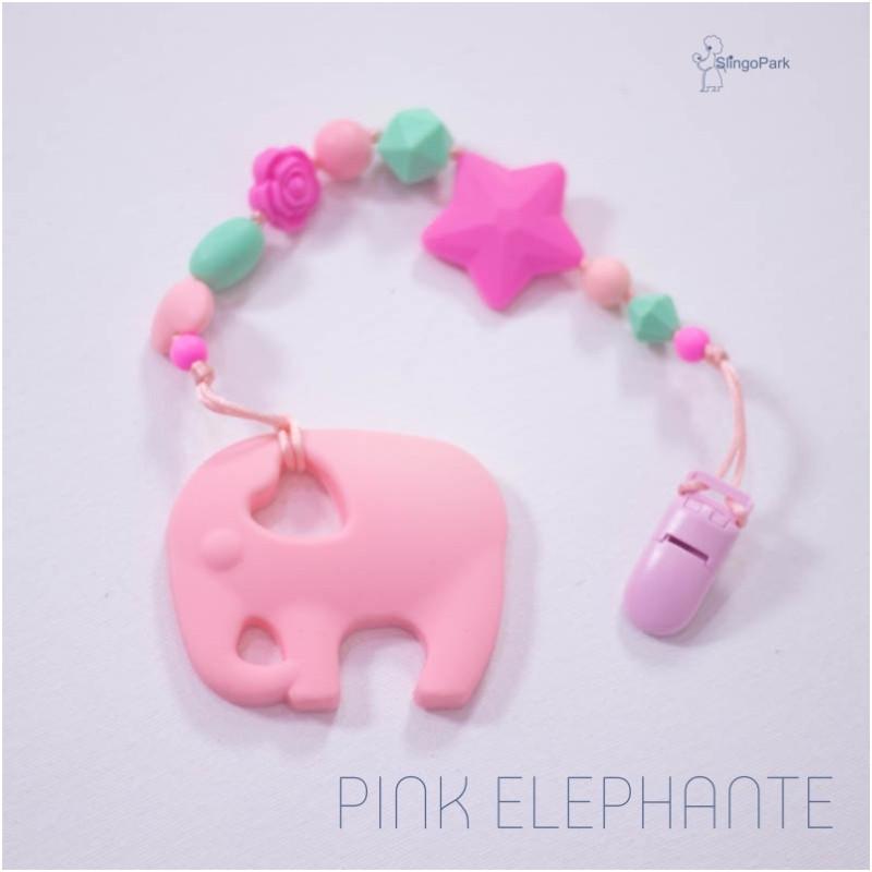 Силиконовый грызунок с держателем BABY MILK TEETH Pink Elephante