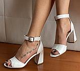 Босоніжки жіночі білі шкіряні, фото 2