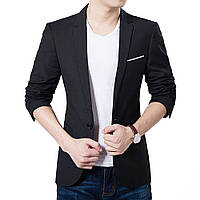 Мужской классический пиджак синий и черный с белым карманом, молодежный пиджак под джинсы Черный, XXL