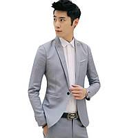 Мужской классический пиджак синий и черный с белым карманом, молодежный пиджак под джинсы серый, M