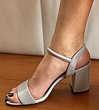 Босоніжки жіночі сірі шкіряні, фото 2