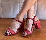 Босоніжки жіночі червоні шкіряні, фото 2