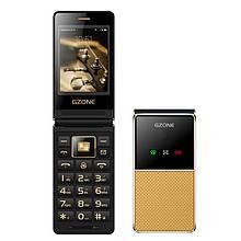Телефон кнопочный раскладушка с мощной батареей, большим экраном и удобными кнопками на 2 сим Gzone F699 gold