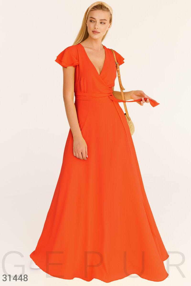 Яркое шифоновое платье макси на запах