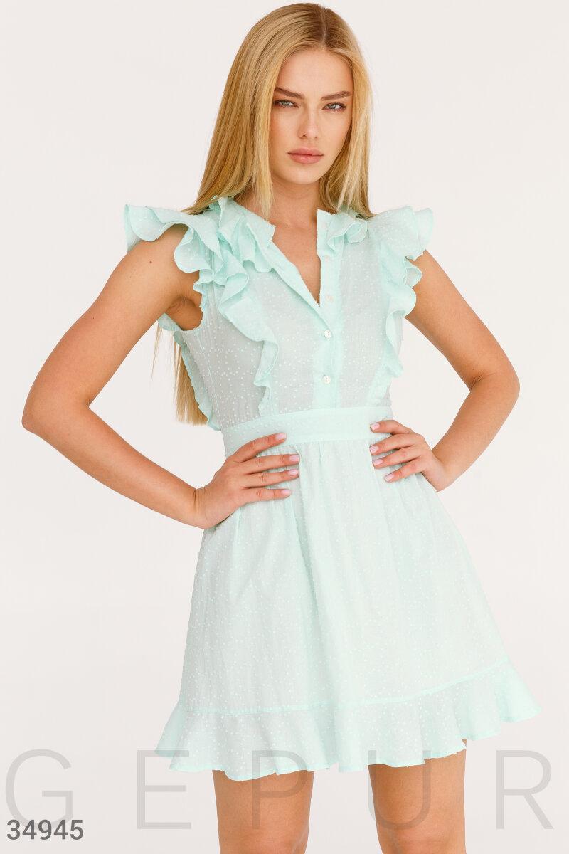 Короткий приталені плаття з оборками