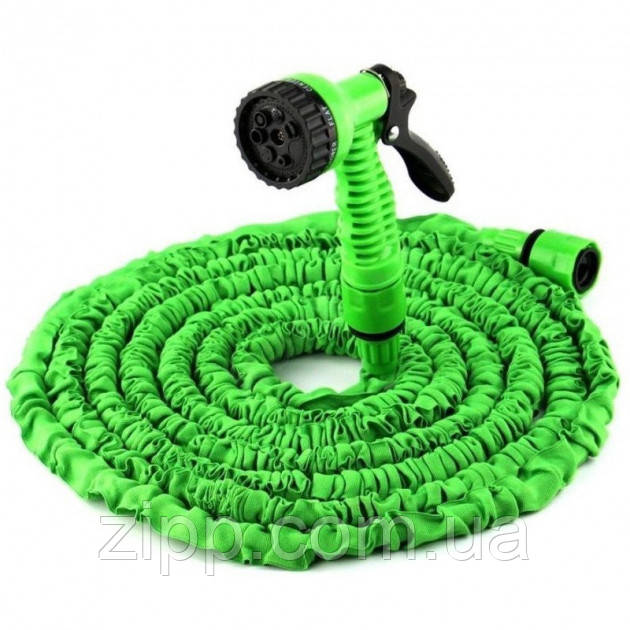 Шланг поливочный садовый Xhose 30 м с распылителем для полива Magic Hose Зеленый