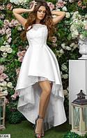 Платье вечернее женское асимметричное летнее гипюр/королевский атлас/сетка 42-46р.,цвет белый