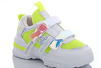Стильные яркие детские кроссовки для девочек на липучке