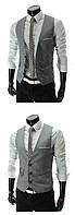 Жилетка мужская классическая черная и серая светло-серый, XL