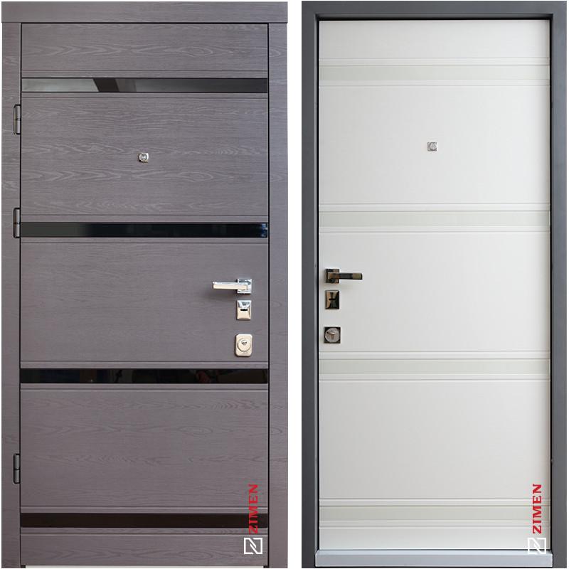 Дверь входная металлическая ZIMEN Studio, Standart, Mottura, Дуб гриф / Пломбир, 850x2050, правая