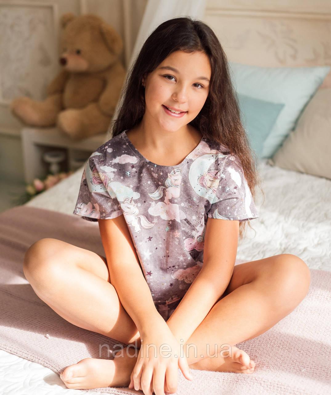 Подростковая пижама Единорожки Eirena Nadine (786-52) 158/38  Серая
