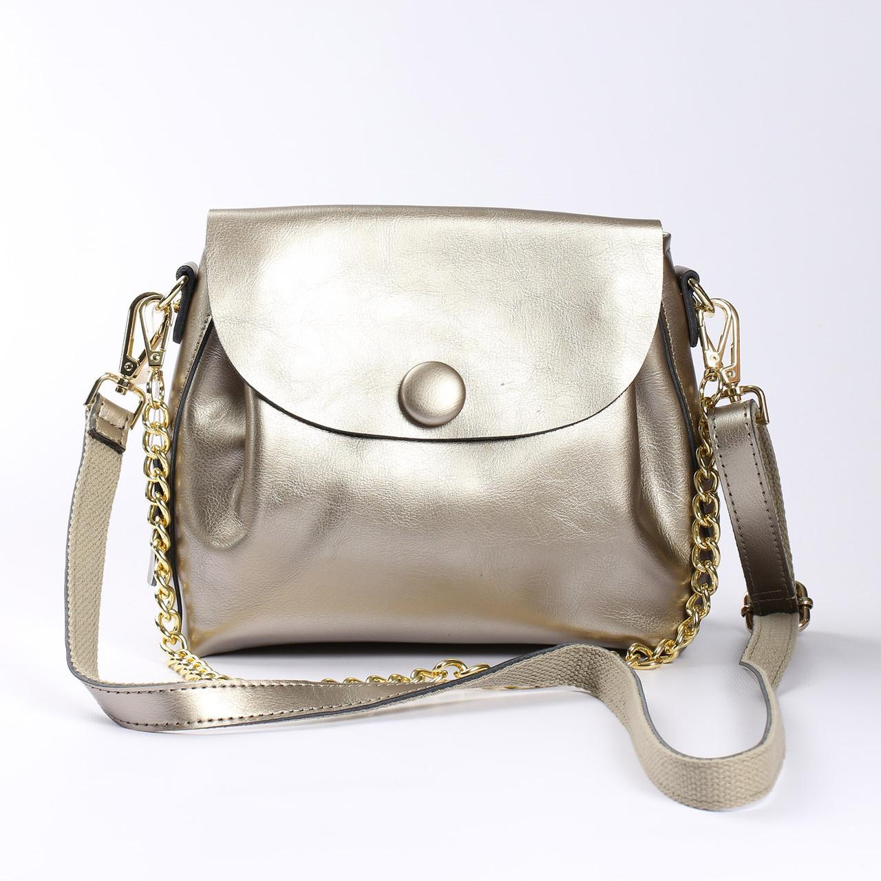 """Женская сумка, клатч через плечо из натуральной кожи """"Пуговка 3 Silver"""""""