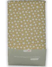 Простынь на резинке 180х200 Хлопок Трикотаж КОНТУРНІ КВІТИ 125 г/м2, фото 3
