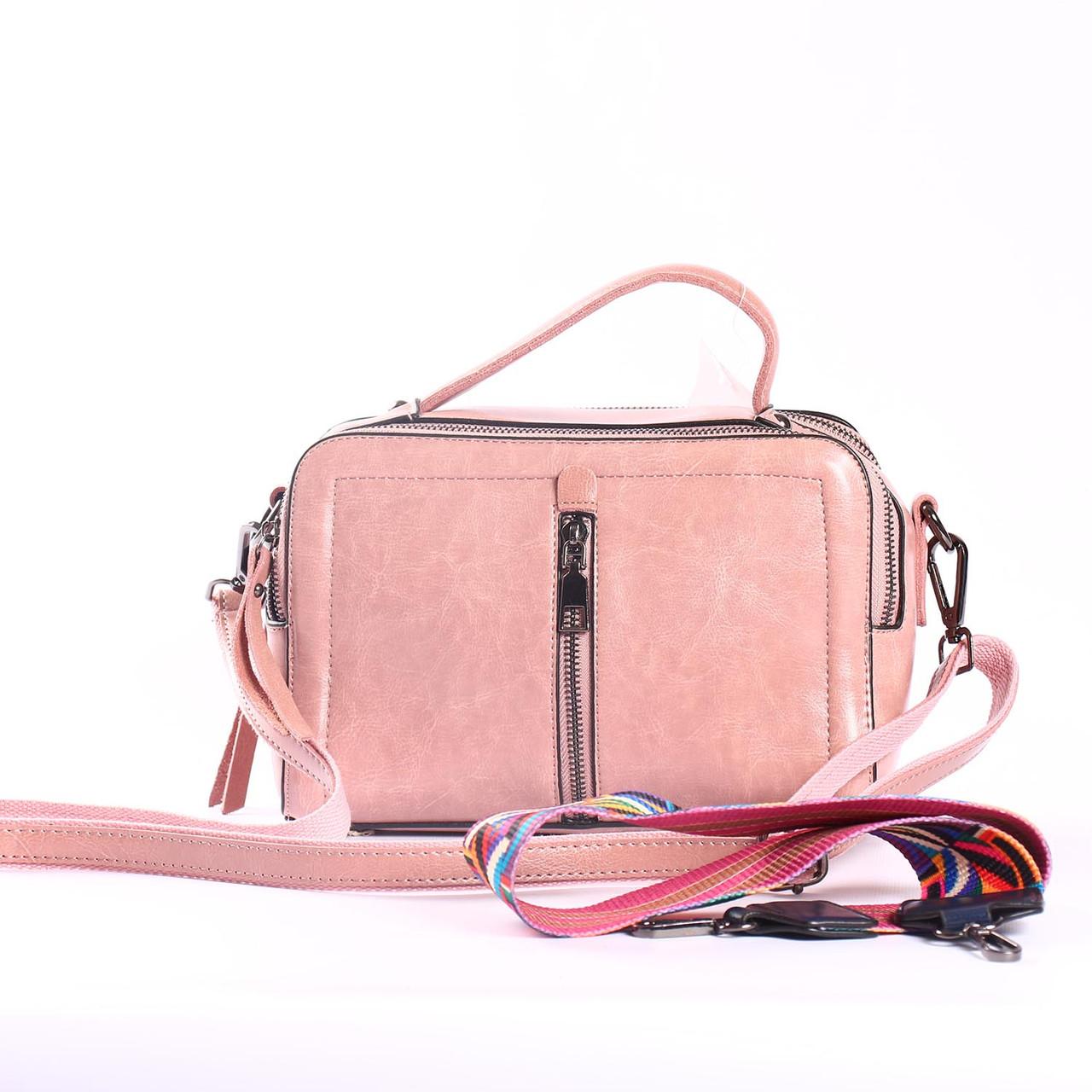 """Женская сумка кожаная на 2 ручки """"Касандра Pink"""""""