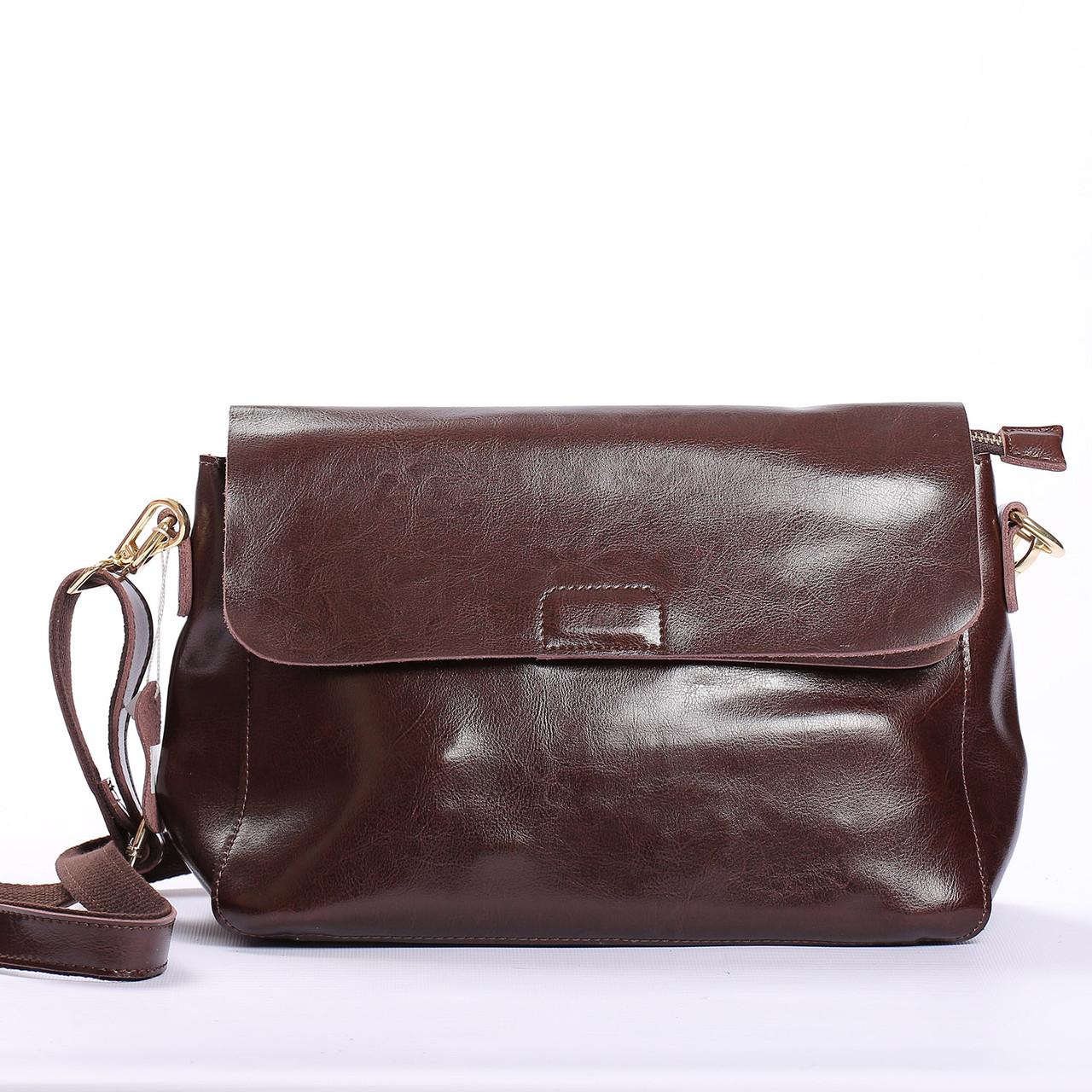 """Женская сумка через плечо из натуральной кожи  """"Синди4, Brown"""""""