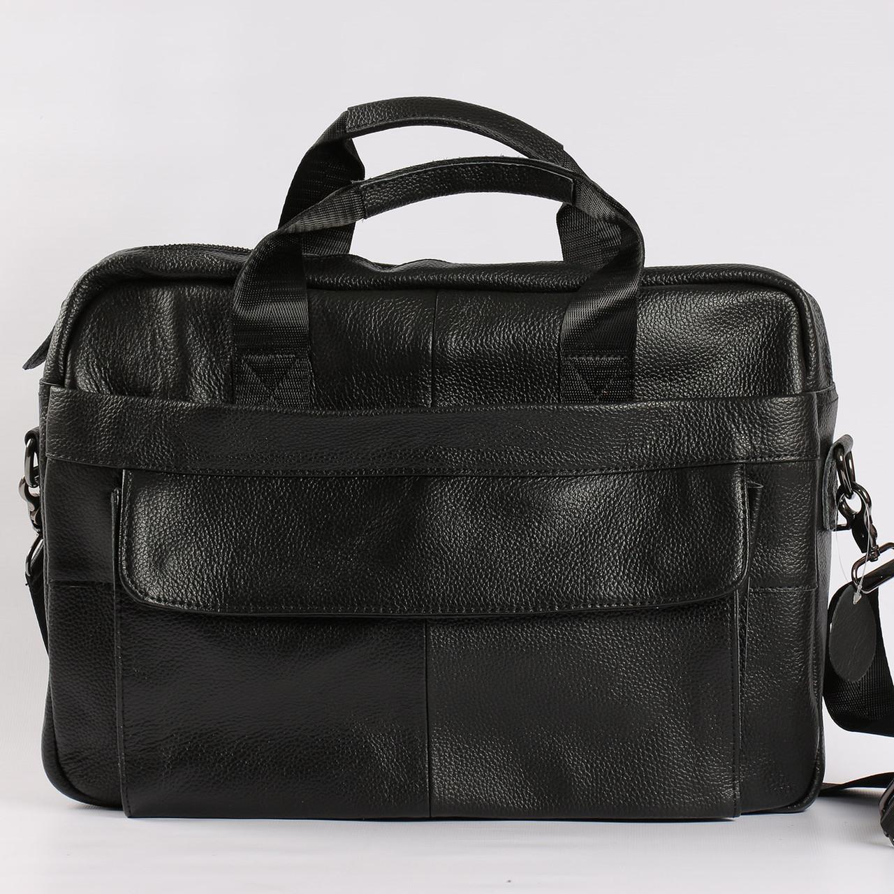"""Качественный кожаный портфель для ноутбука, деловой черный """"Boss Black"""""""