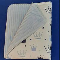 Плед-конверт демисезонный детский из голубого плюша strins и польского хлопка