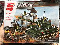 Конструктор Brick 1711, Qman Атака танка 380 деталей, лего танк вторая мировая 4 фигурки, в коробке 27,5x37x6