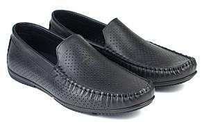 Мокасины кожаные летние перфорация черные мужская обувь больших размеров Rosso Avangard BS M4 PerfBlack