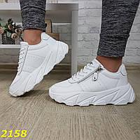 Кроссовки женские кожаные на платформе, белые, код SL-2158
