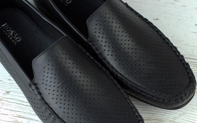 Летние мокасины кожаные перфорация черные мужская обувь больших размеров Rosso Avangard BS M4 PerfBlack