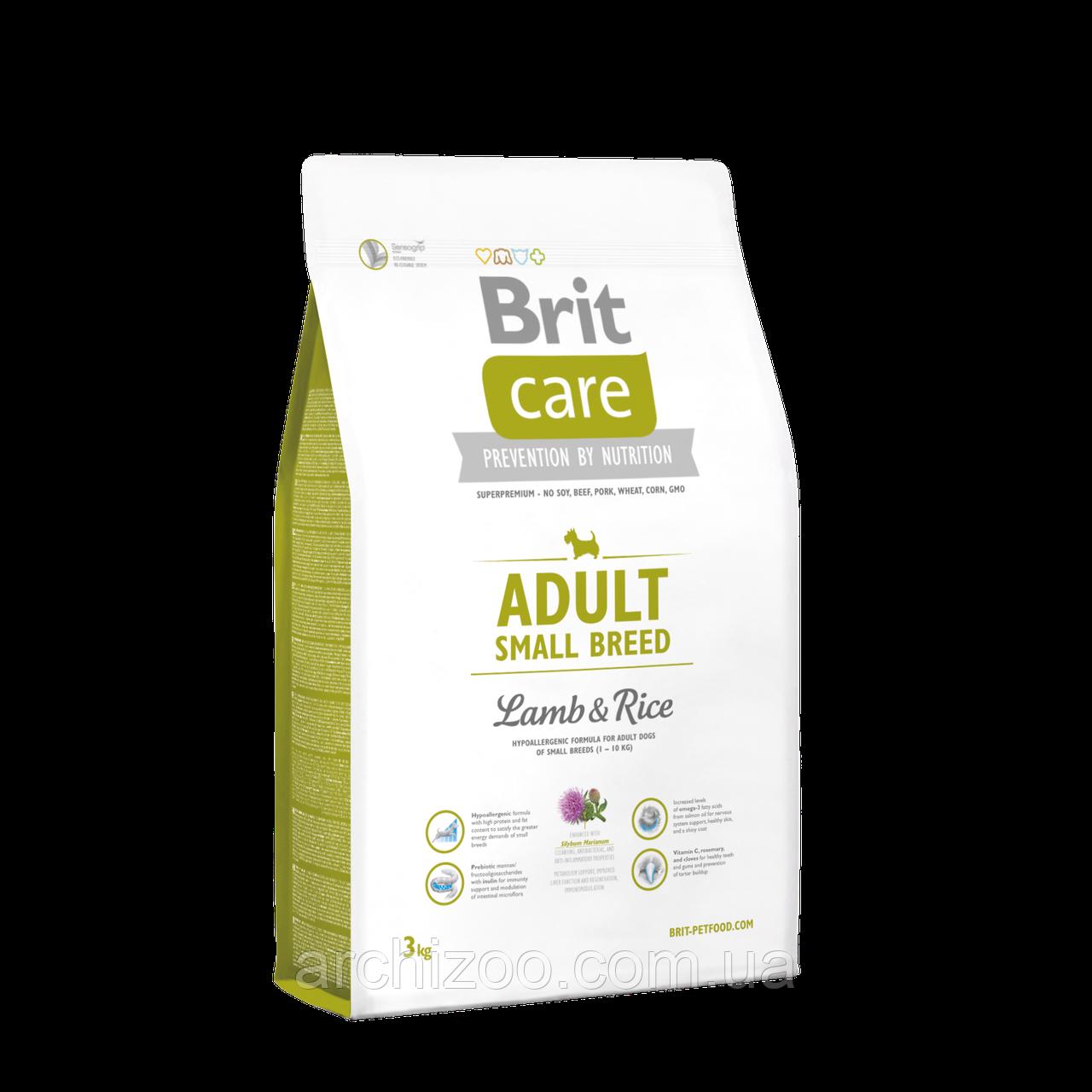 Brit Care Adult Small Breed Lamb & Rice корм для собак мелких пород, 3 кг