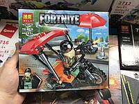 Конструктор Bela 11124 Fortnite фортнайт перестрелка на мотоцикле  76 дет, 1 фигурки, в коробке 19*17*4,5 см