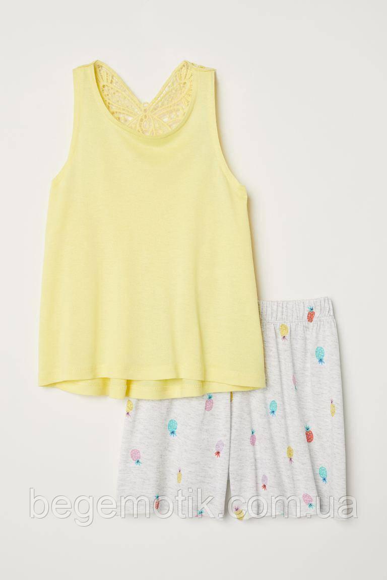 H&M Летний комплект для девочки майка и шорты 6-8 лет рост 122-128