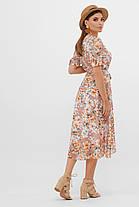 Нежное светлое платье в цветочек миди шифоновое, размер от 42 до 48, фото 3