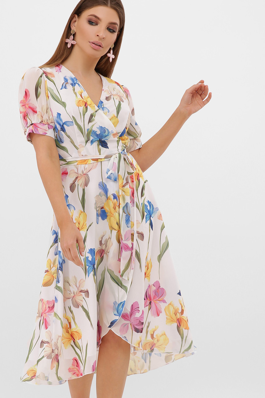 Нежное светлое платье в цветочек миди шифоновое, размер от 42 до 48