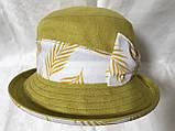 Шляпа панама льняная средние поля с бантом цвет горчица, фото 2