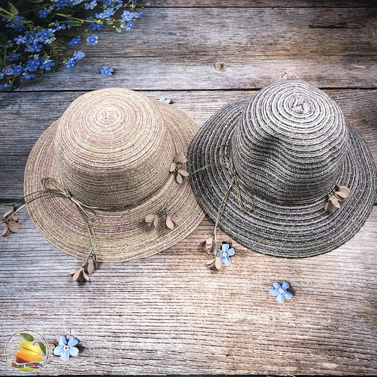 Женская соломенная шляпка (объём 57- 58 см) (Сиреневая) (3032)