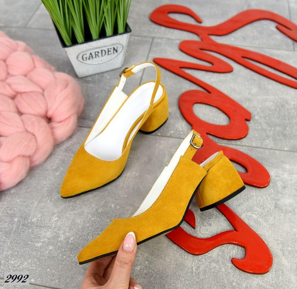 Шикарные замшевые туфли на каблучке 36-40 р горчица