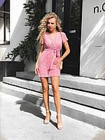 Платье на запах мини,в горошек,легкое и романтичное,с пояском и небольшими рукавами,42-44,44-46