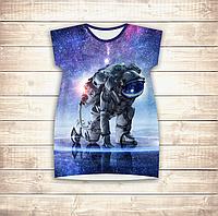 Платье-туника 3D для девушек Космонавт Взрослые и детские размеры, фото 1