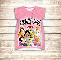 Платье-туника 3D для девушек Crazy Girl Взрослые и детские размеры, фото 1
