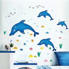 """Наклейки в ванную на стены """"дельфины на волнах"""" 60см*115 (лист45*60см) чайки рыбки наклейки для детей"""