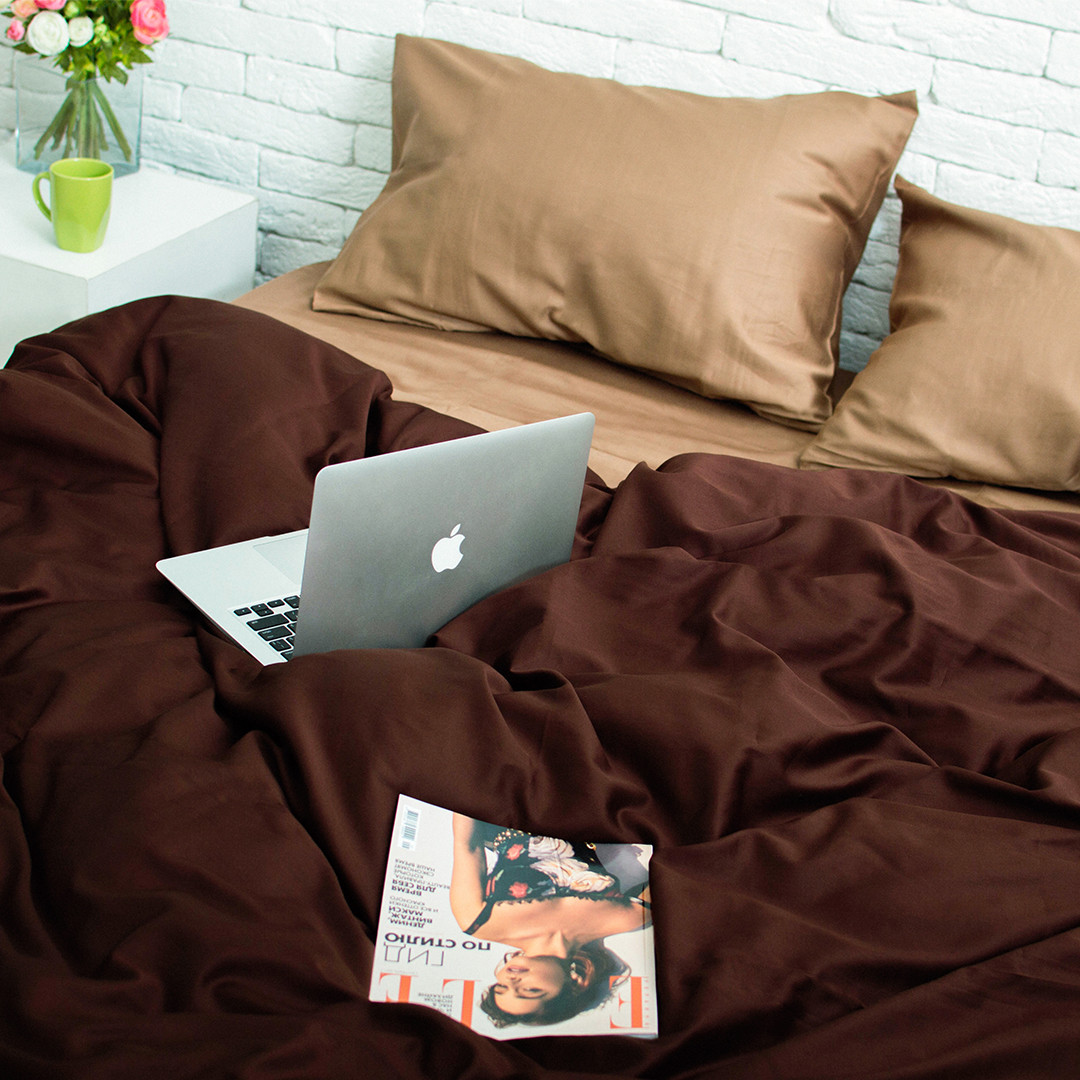 Комплект постільної білизни 2 спальний Сатин Люкс (SE010) стандартна подушка
