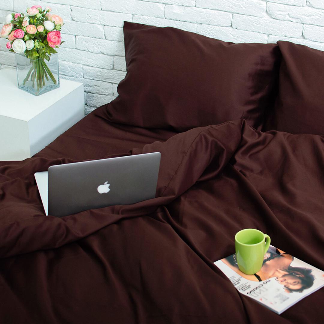 Комплект постільної білизни Євро Сатин Люкс (SE006) стандартна подушка